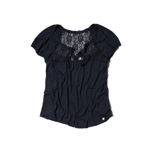 girls lace back peasant top