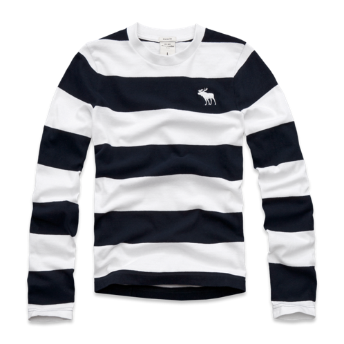 guys long sleeve striped crew