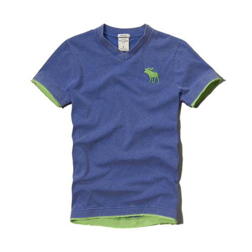 tops pop color v-neck tee