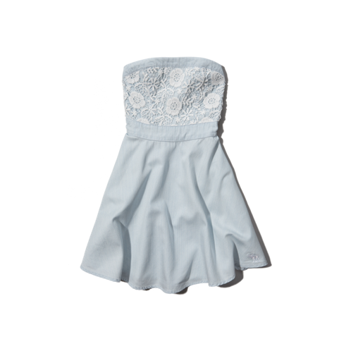 girls strapless lacy chambray dress