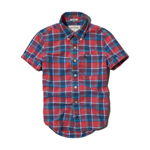 guys plaid short-sleeve shirt