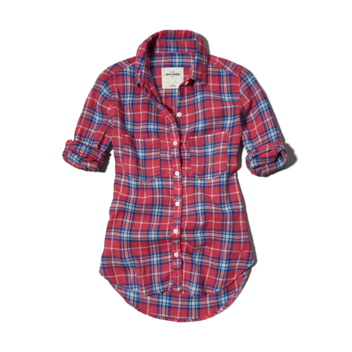 tops textured plaid shirt