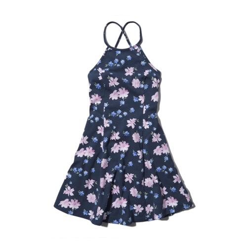 girls floral halter skater dress