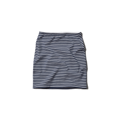 girls natural waist striped slim skirt