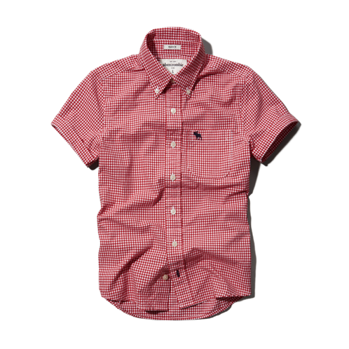 tops check button-down shirt