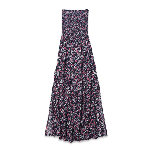 girls floral strapless maxi dress