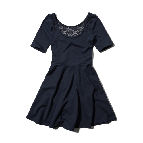 girls lace-back skater dress