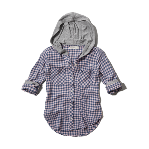 girls hooded button-down shirt