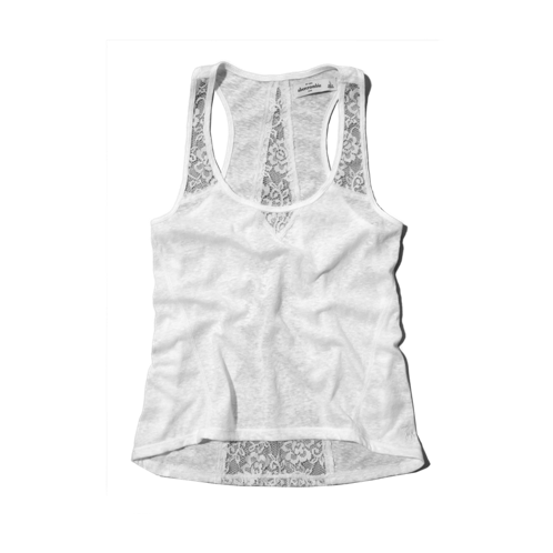 girls mixed knit and lace tank