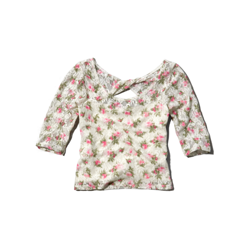 girls floral slim crop top