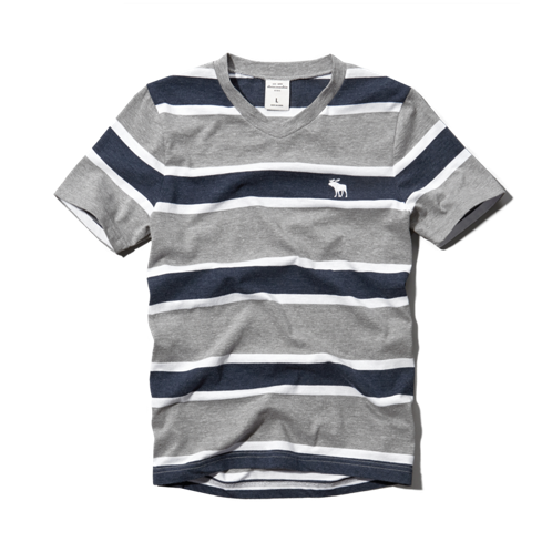 guys striped v-neck tee