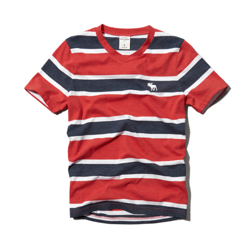 boys striped v-neck tee