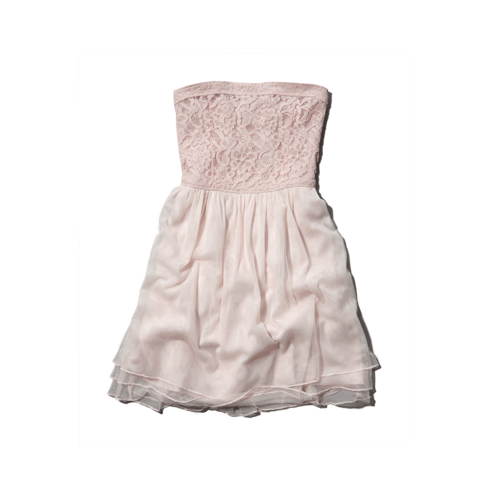 girls strapless lace and mesh dress