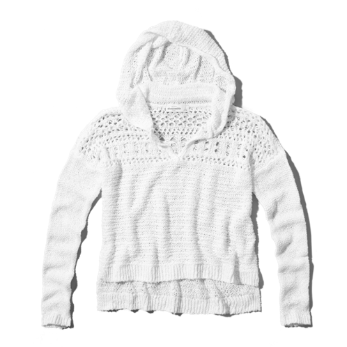 girls open-knit sweater hoodie