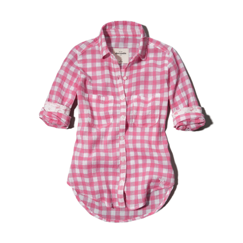 girls lace detailed plaid shirt