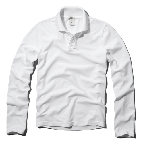 guys classic solid long-sleeve polo