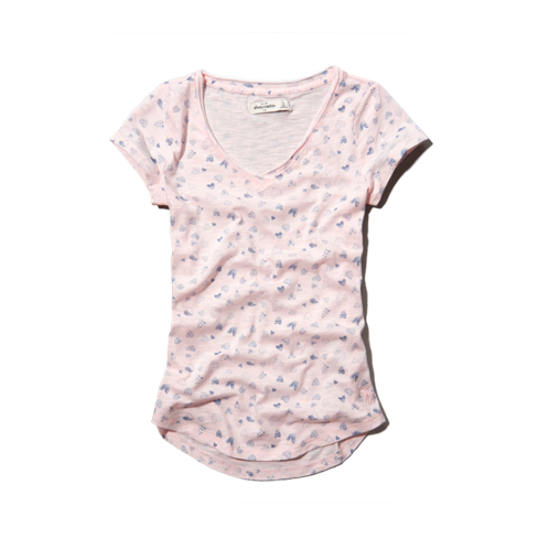 girls printed v-neck tee