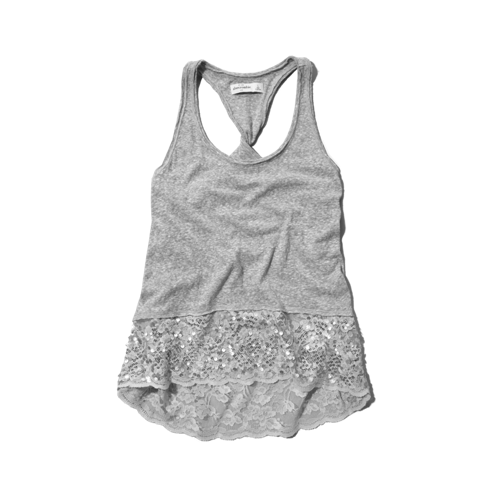 girls shine lace hem tank