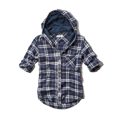 girls hooded plaid shirt