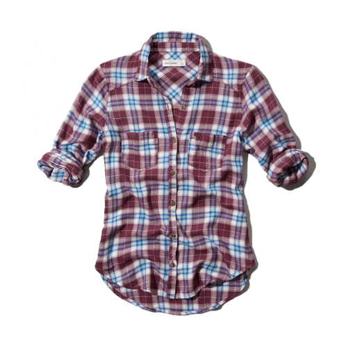 girls easy fit plaid shirt