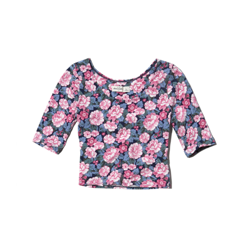 girls printed slim crop top