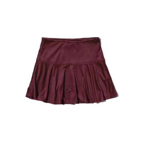 girls dropwaist suede skater skirt