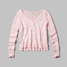 girls striped v-neck sweater