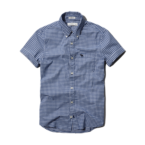 guys checked button-down shirt