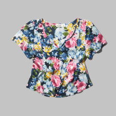 girls painterly floral top