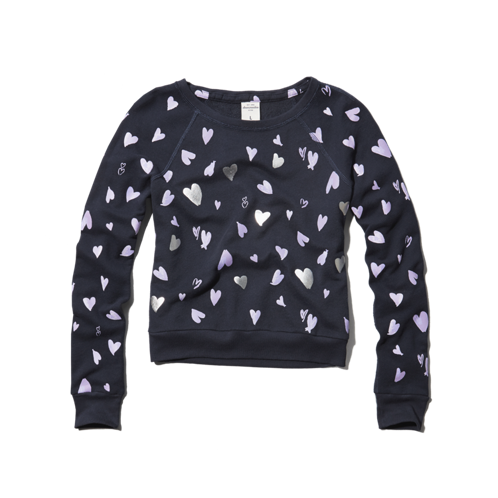 girls all-over hearts sweatshirt