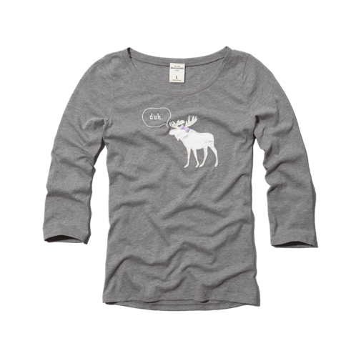 girls cute moose graphic tee