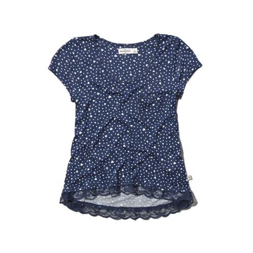girls lace-embellished dots tee