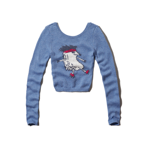 girls animal intarsia cropped sweater