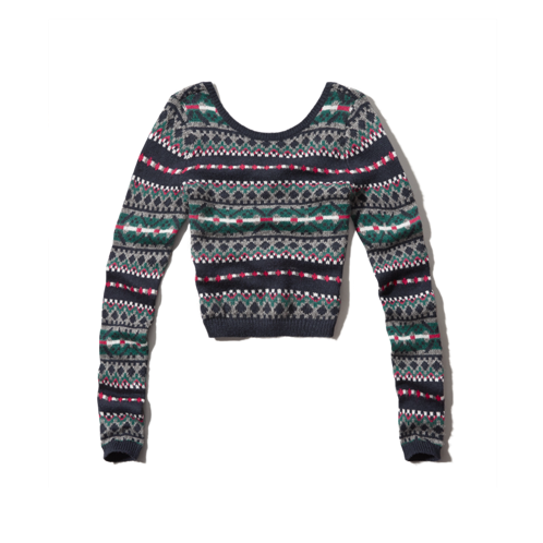 girls fair isle cropped sweater