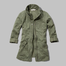 girls long twill parka