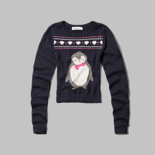 girls penguin intarsia sweater