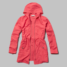 girls coral nylon parka