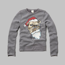 girls bulldog santa sweatshirt