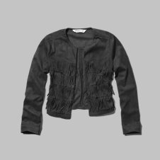 girls faux suede fringe jacket