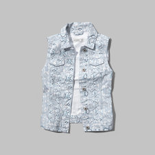girls printed denim vest