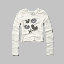 girls bisous graphic long sleeve crop tee