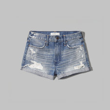 girls a&f festival high rise denim shorts