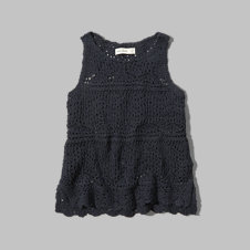 girls open stitch knit tank