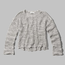 girls crochet knit cropped sweater