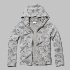 girls a&f printed full-zip hoodie
