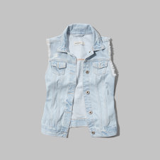 girls frayed denim vest