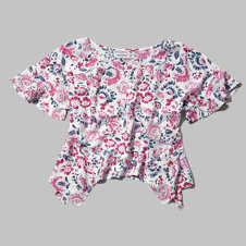girls pattern drapey tee