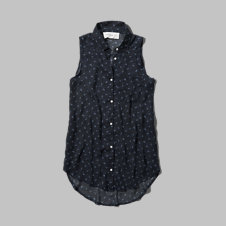 girls pattern sheer sleeveless shirt
