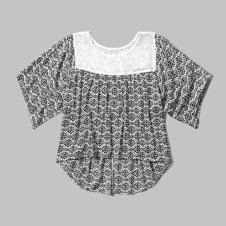 girls pattern lace drapey top