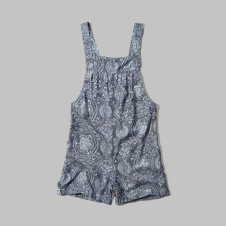 girls paisley chambray shortalls